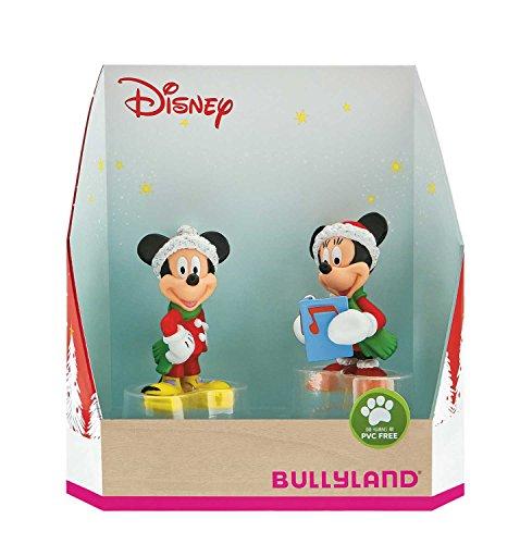 Bullyland 15074 - Spielfigurenset, Walt Disney Mickey Weihnachten - Micky und Minnie im Weihnachtskostüm