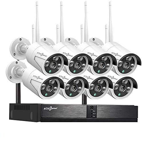 Active Pixel 1080P 2MP AUTO-Pair Wireless System 8 Channel HD Wireless NVR kit,Eight 2MP HD Outdoor/Indoor Waterproof Wireless IP Security Cameras
