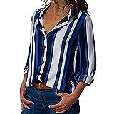 AMUSTER Damen Blusen V-Ausschnitt Streifen Langarmshirts Blusen Kariertes Hemd Oberteile Damen Casual Gestreift Hemd Frauen Mode Langarm Lose Bluse T-Shirt Tops Oberteile