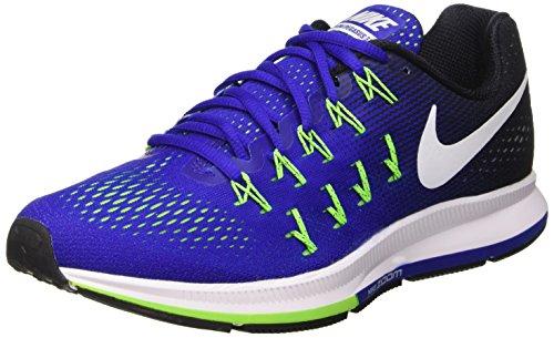 Nike Air Zoom Pegasus 33 Herren Laufschuhe, Blau (Concord/Weiß-Schwarz-Elctrc Grn), 44 EU (Herren Laufschuhe 33)