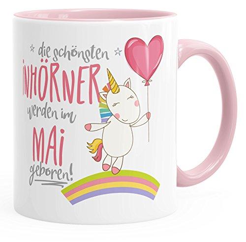 *Geburtstags-Tasse die besten Einhörner werden im Mai geboren MoonWorks® Geschenk-Tasse rosa unisize*