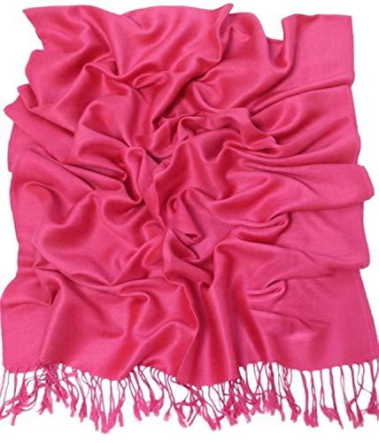 CJ Apparel Rosa Caliente Diseño Sólido Color Chal