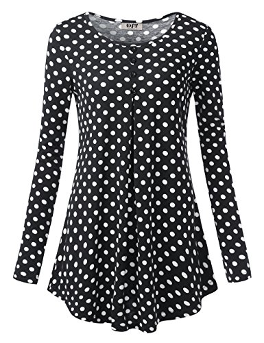 DJT Women's Crewneck Long Sleeve Floral Shirts Flared Casual Tunic Tops