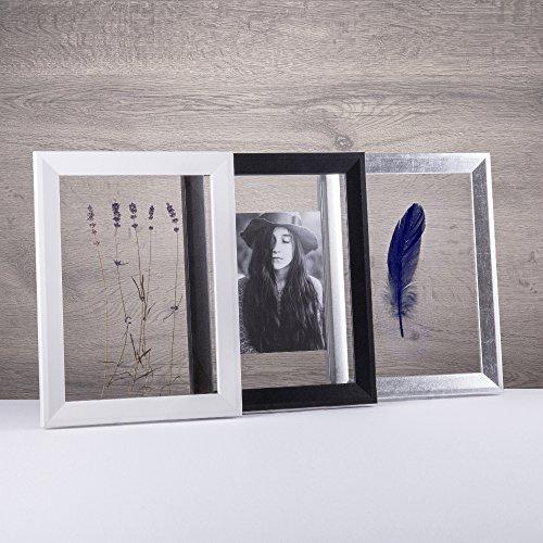 Doppelglas - Doppelverglasung Rahmen Doppelglasrahmen Bilderrahmen mit Acrylglas ohne Rückwand schmal und modern in 40x50cm Weiß (matt)