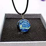 #5: Embernation New galaxy necklaces / Galaxy Van Gogh Starry Night painting Pendant Stars Glass Ball Pendant Crystal Collares Duplex Planet Pattern Leather Chain Maxi Necklace For unisex (Style A9 - Van Gogh Starry Night)
