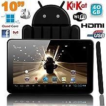 819174e5533c34 Tablette tactile 10 pouces Android 4.4 KitKat Quad Core 40 Go Noir