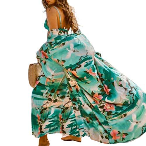 Lamdoo Womens Beach Sonnencreme Badeanzug vertuschen chinesischen gekrönten Kran mit Blumenmuster vorne offen Kimono Cardigan Belted hohe Taille Robe -