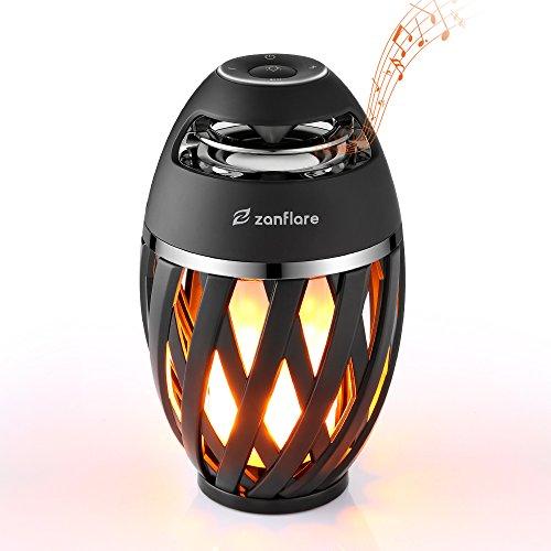 Zanflare Lampe d'Atmosphère [avec Effet de Flamme, Haut-Parleur Bluetooth, USB Rechargeable, Sans Fil, Etanche IP65] Lampe Bluetooth Enceinte Lampe de Chevet LED