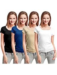 Fashion Line Premium Quality Stylish Printed Round Neck T Shirts For Women _Material : Cotton (Pack of 4 )