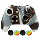Hikfly Silicone Controller Cover Skin Protector Case Faceplates Kits for Xbox One Slim / S Controller Video Games with 4pcs Thumb Grips Caps(Whiteblack)