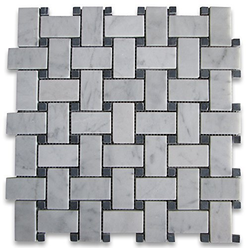 carrara-white-italian-carrera-marble-basketweave-mosaic-tile-black-dots-1-x-2-honed-by-stone-center-