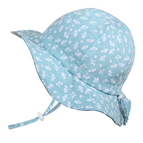 Baby Mädchen Vintage Bonnet Sonnenhut 50 UPF, verstellbar, atmungsaktiv, Halsband (Klein: 0-9m, Schlapphut: Mint Blume)