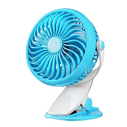 CLDGF USB-Ventilator, 360 ° Drehbarer Stufenloser Geschwindigkeitsregulierungs-Klipp-Art Ventilator, Passend Für Baby-Wagen, Schlafzimmer, Büros, Etc,Blue