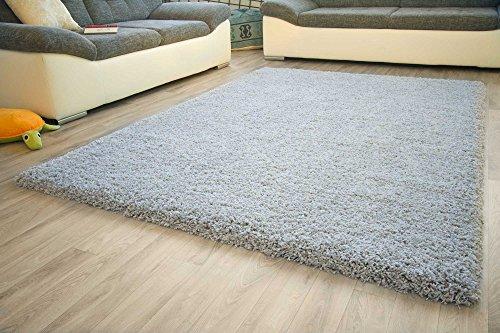 Shaggy Hochflor Teppich Funny Luxus Sofort lieferbar GUT Siegel Silber Weiß, Größe: 120x170 cm