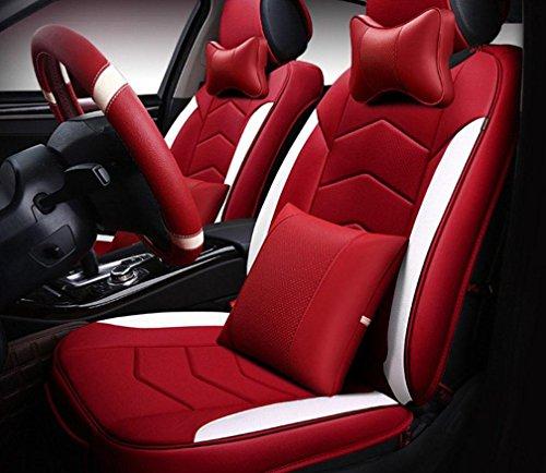 XL FFGES Auto Kissen Vier Jahreszeiten Universelle Thermostatische Leder Volle Sitz Kissen Sitzbezug , Red,Red (Metall-traktor-sitz-stuhl)