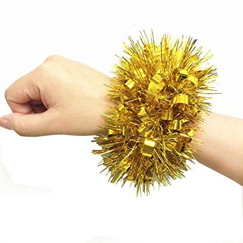 2 STÜCKE Cheerleader Cheerleader Blume Armband Hand Dekoration Werkzeuge Sport Party Zubehör Tanz Ball Party Sport Pompoms Jubeln Pom für Colleage Team Geist Corporate Events (Golden)