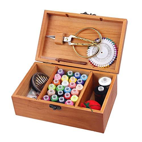 Jannyshop Caja de Costura de Madera Caja de Almacenamiento de la Aguja...