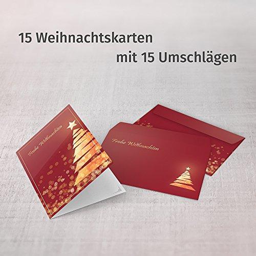 Weihnachtskarten mit Umschlägen (15er Set) - Klappkarten mit Weihnachtsbaum-Motiv in Rot für die schönsten Weihnachtsgrüße - Frohe Weihnachten