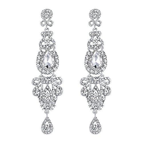 zeit Brautschmuck Kristall Art Deco lange Kronleuchter baumeln Ohrringe klar silberfarbenes (Beste Weibliche Kostüme Ideen)