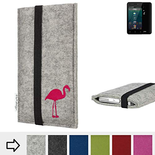 flat.design Handy Hülle Coimbra für Allview P42 Made in Germany Handytasche Filz Tasche Case fair Flamingo pink