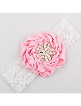 Baby- Stirnband mit Kristallen, Blumen, rosa rose