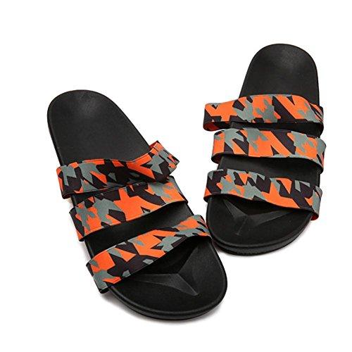 SHANGXIAN Unisexe toile confortable été Skidproof pantoufles d'intérieur orange camouflage