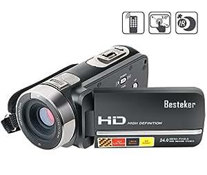Kamera Camcorder, Besteker FHD 1080P Max 24,0 Megapixeln Gesichtserkennung Infrarot-Nachtsicht Fernbedienung 16X Digitales Zoom Videokamera mit 3,0 Drehbarem TFT-LCD-Touchscreen