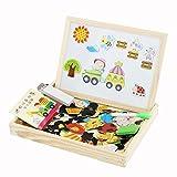 Discoball-Lernspielzeug-Holz-Spielzeug-Magnetic-Magnetisches-Puzzle-Holzbrett-Staffelei-Tafel-Wooden-Double-Side-Drawing-Writing-Board-Game-Toy-Set-fr-Kinder-Jungen-Mdchen-ab-3-Jahren-Zeichnung-Tier