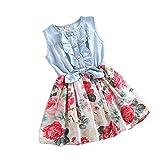 Kobay Kleinkind Baby Mädchen Kleid Langarm Prinzessin Party Pageant Kleider Kinder Kleidung (110/4-5 Jahr, Rot-1)