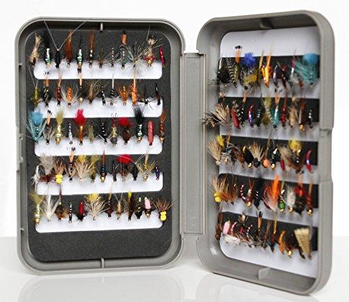 G Fly Box Inc assortiti pesca alla trota umido, a secco, ninfe & Buzzer, misura da 8, 10, 12, 14, 16o 18, confezione da 10, 25, 50, 100, Box+ (50x Flies, Size 18) - Sea Trout Fly Fishing