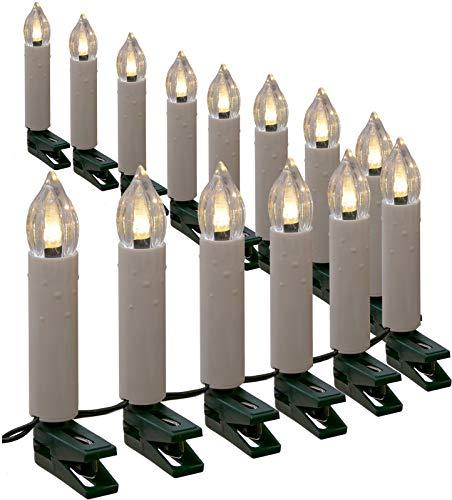 Lichterkette mit 30 Kerzen LED warmweiß 10 m Kerzenlichterkette innen außen