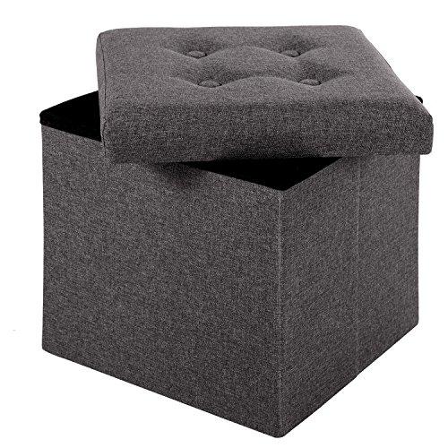 Merax® Faltbarer Sitzhocker Fußbank Sitzwürfel Fußablage faltbar leinen