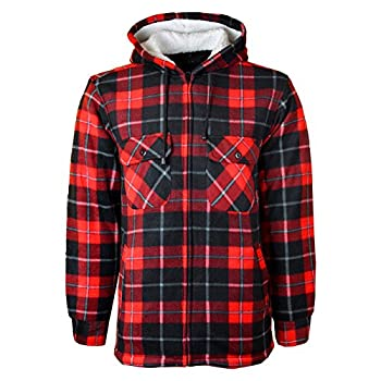 Myshoestore Unisex Padded Shirts Lumberjack Collared Hooded Flannel Check Jacket Thick Quilted Work Wear Warm Thermal Fleece Fur Lined Top Casual Coat Plus Big Size S-5xl 0