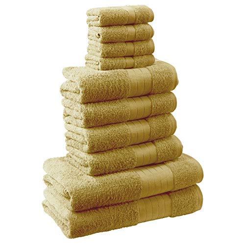 Set de Toallas de baño amarillo mostaza (10 Unidades, 100% algodón)
