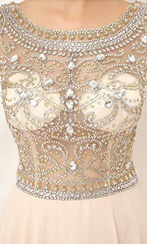 Sarahbridal Damen A-Linie Kleid Nude