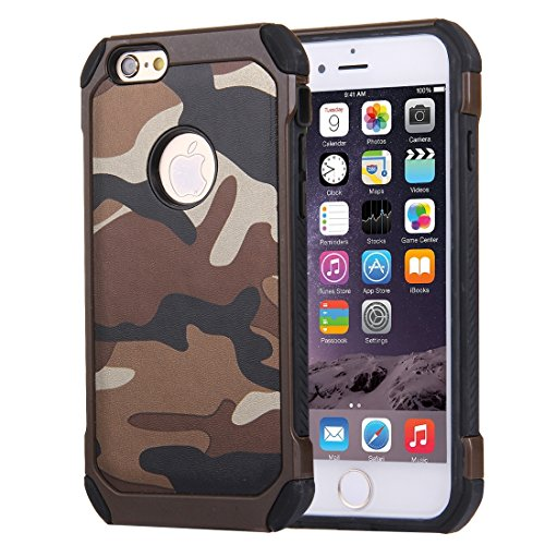 Phone case & Hülle Für iPhone 6 Plus / 6s Plus, Camouflage Muster Shock-resistent Tough Armor PC + Silikon Kombination Fall ( Color : Green ) Brown