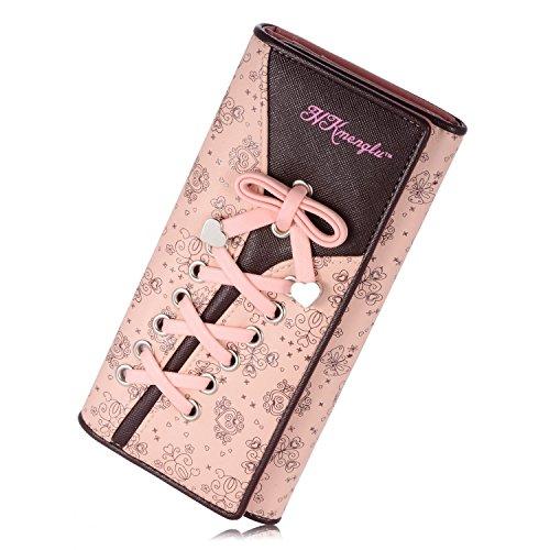 YOEEKU borsa del portafoglio Bifold da donna Coface con la chiusura lampo (Rosa) Rosa