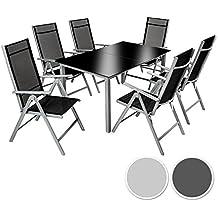 TecTake Aluminium 6+1 salon de jardin ensemble sièges meubles chaise table en verre gris foncé (Gris argenté   No. 402167)