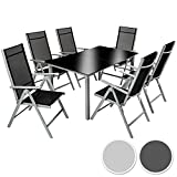 TecTake Aluminium 6+1 salon de jardin ensemble sièges meubles chaise table en verre gris foncé (Gris argenté | No. 402167)