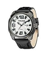 Police PL.93831AEU/04 - Reloj de cuarzo para hombres con esfera negra y correa negra de cuero de Police