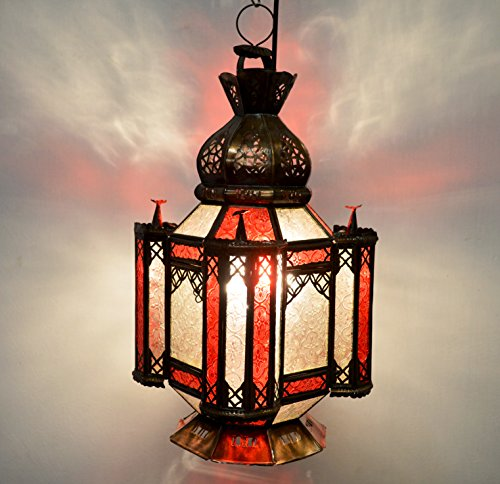 Moroccan Antique Brass Ceiling / Floor Lantern 4 Children - Hand pierced tin - Red & Clear Glass - 55Cm - Clearance