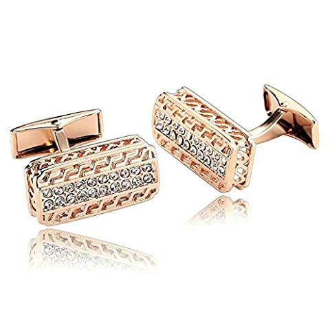 AnaZoz Fashion Jewelry Stainless Steel Mens 1 Pair Cufflinks Hollow Rectangle with Two Row of Cubic Zirconia Rose Gold Men's Cuff