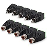 kwmobile RCA Connector Adapter Plug Set - 5 Pairs RCA Female and Male Plug to AV Screw Terminal Audio/Video Connector Adapter - Black with Green