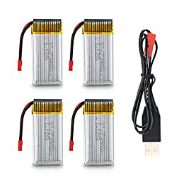 Potensic F181DH F181WH Drone Batería 3.7V 750mAh (4PCs) y Cargador del USB (1PC)