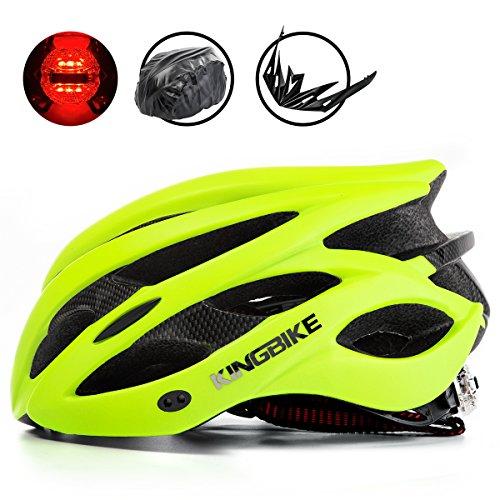 KING BIKE - Casco de Ciclismo con Cubierta para Lluvia y Visera Desmontable, luz LED Trasera Segura, Ligero, cómodo y Ajustable, Color Verde, tamaño XL:59-63CM