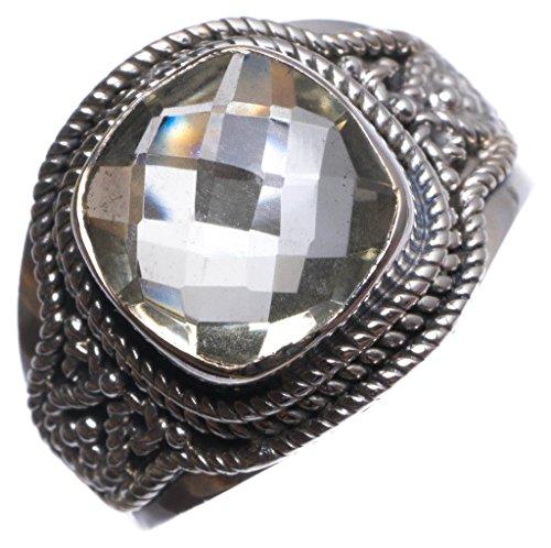StarGems(tm) 925er Sterling Silber Green Amethyst Einzigartig Handgefertigt Ringe Green - Amethyst Teardrop Ringe