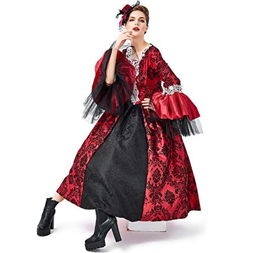 LLCOFFGA Halloween Erwachsene Vampire Anzug Cosplay Kostüm Maskerade Dress Up Kostüm Mittelalterlichen Retro Gericht Kleid Rock Gotischen - Batman Dress Up Kostüm