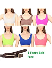 Golden Girl Pack of -6 Women's Air Bra, Sports Bra, Stretchable Non-Padded & Non-Wired Seamless Bra , Free Size (Fits Best - size 28 to 36)
