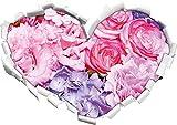 prachtvoller Blumenstrauss Herzform im 3D-Look , Wand- oder Türaufkleber Format: 62x43,5cm, Wandsticker, Wandtattoo, Wanddekoration
