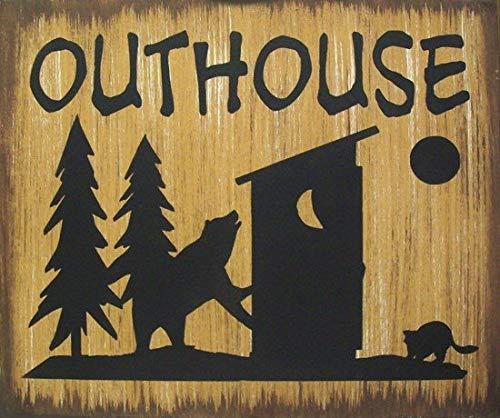 qidushop Holzschild für Heimdekoration, Outhouse Bär Elch oder Hirsch Hütte Lodge Jagd primitiv rustikal Landwerk für Schlafzimmer Kithchen Gardern Schreibtisch (Elch-jagd-dekor)